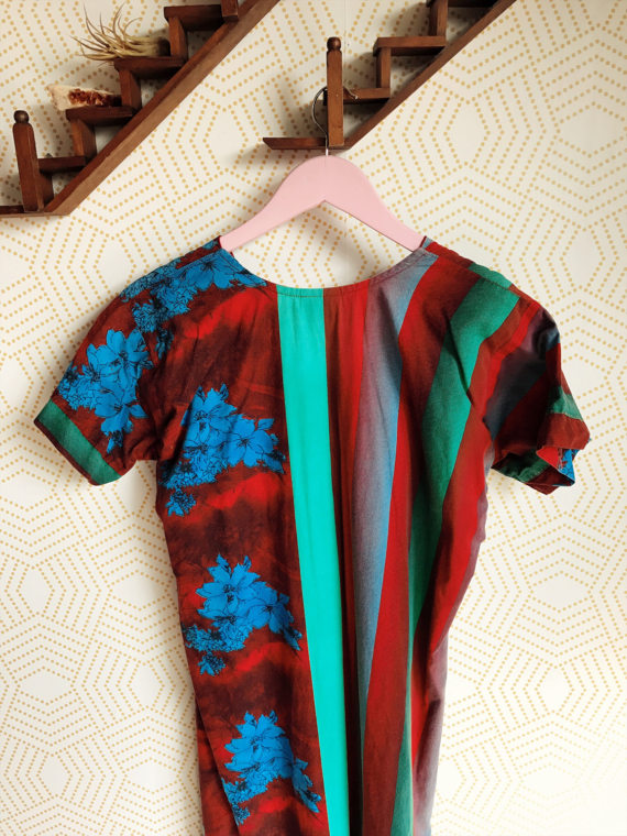 70s Bright Colored Vintage Muumuu with Blue Floral Print Detail