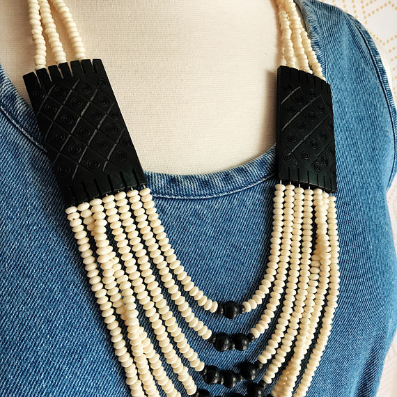Vintage Beaded Bib Necklace