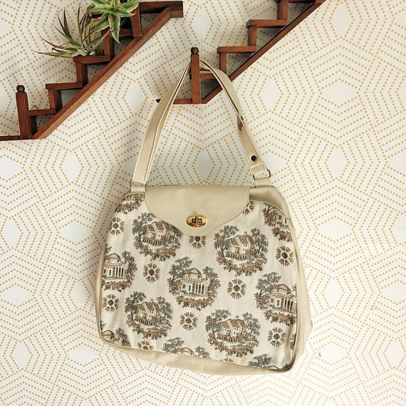 1960s Vintage Cream Upholstered Purse with House Vignette