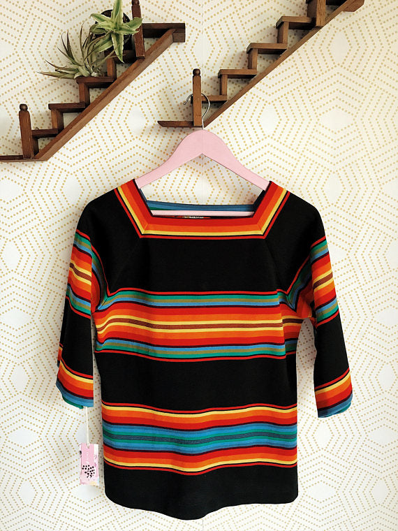 1970s Square Neck Rainbow Blouse