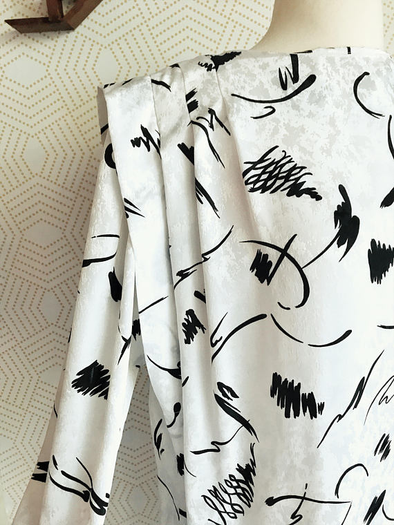 1980s LIZ CLAIBORNE Black and White Long Sleeve Shift