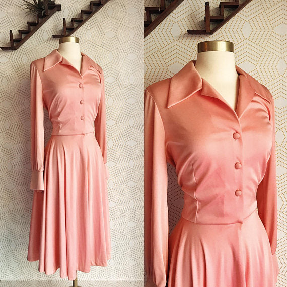 1970s BEEGE Bubblegum Pink Long Sleeve A Line with Collar