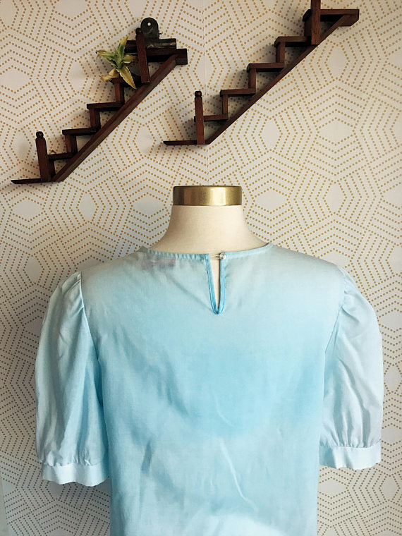 1960s Robins Egg Blue Vintage Blouse