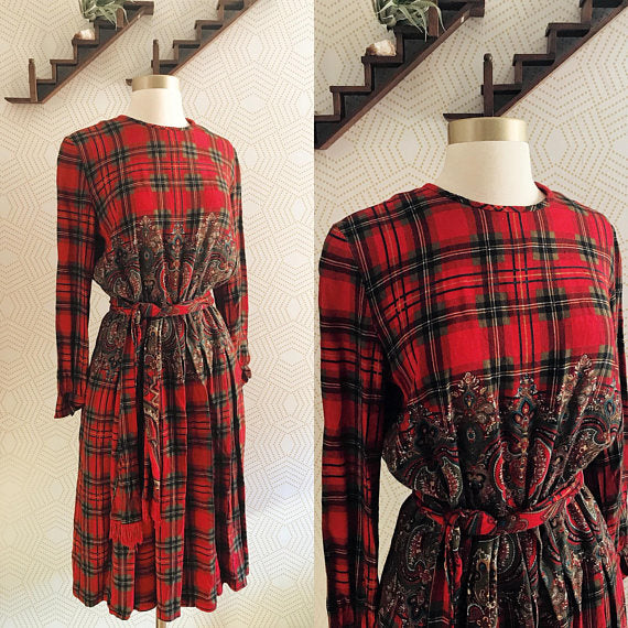 fe6f7607e66 1980s California Designs by Dorothy Samuel Red and Green Plaid Dress ...