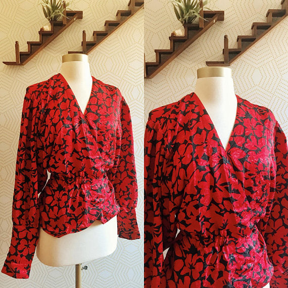 1980's JAEGER Red and Black Floral Wrap Blouse