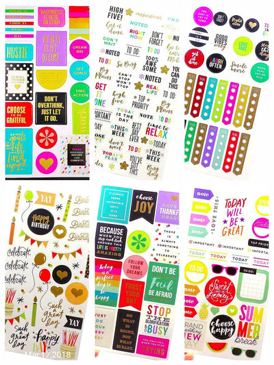 Planner Stickers/6 Pc/Happy Planner, Word Stickers, Agenda Stickers, Life Planner - My Teacher's Cupboard