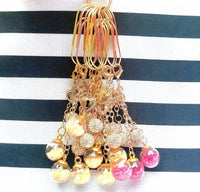 Rose Gold or Gold Glass Ball Dangle Charms Planner Clips