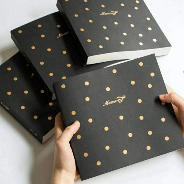 Memory Theme, Sketchbook Notebook, Black With Gold Foil Dots - My Teacher's Cupboard