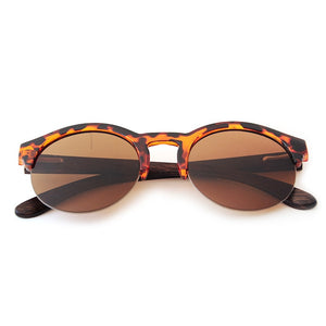 Round Bamboo Mirror Sunglasses