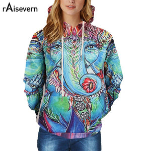 Abstract Elephant Hoodie Sweatshirt With Pocket