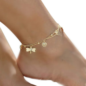 Dragonfly Rose Anklet