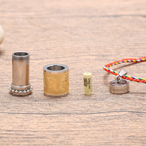 Tibetan Stainless Steel Prayer Wheel Necklace