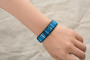 Blue Strength Leather Cuff Bracelet