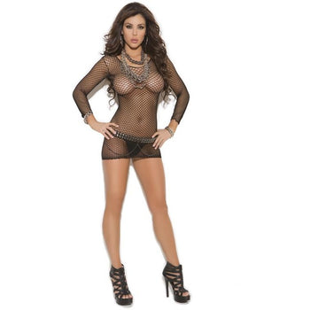 Long Sleeve Fence Net Minidress