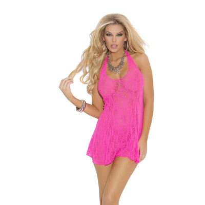 Hot pink stretch lace halter dress