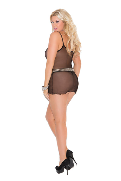 Plus size black net mini dress with matching g-string