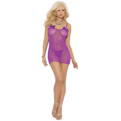 Purple Mesh Dress with Bows and G-String
