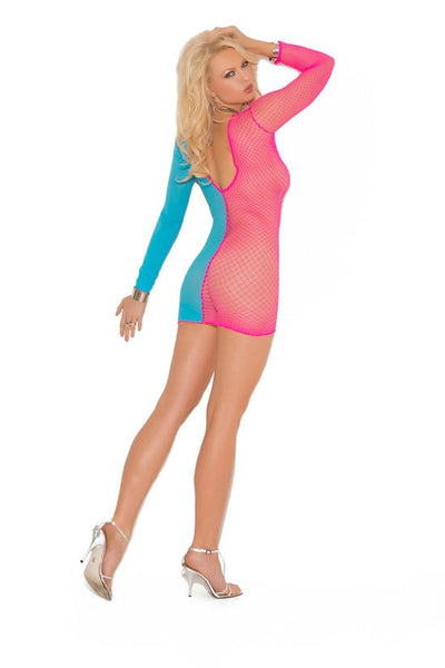 Pink and Blue net mini dress