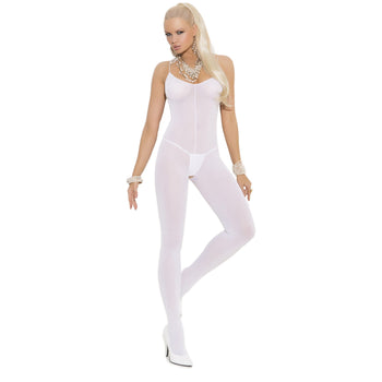 Opaque Bodystocking, White