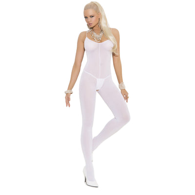 White opaque open crotch spaghetti strap bodystocking