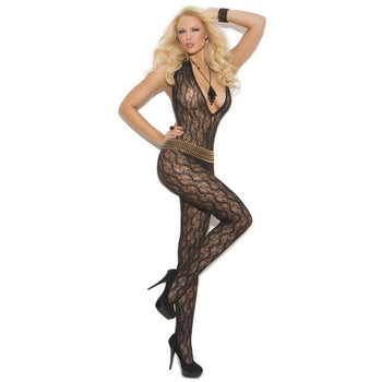 Deep V Lace Bodystocking With Open Crotch
