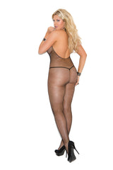 plus size black halter fishnet body stocking