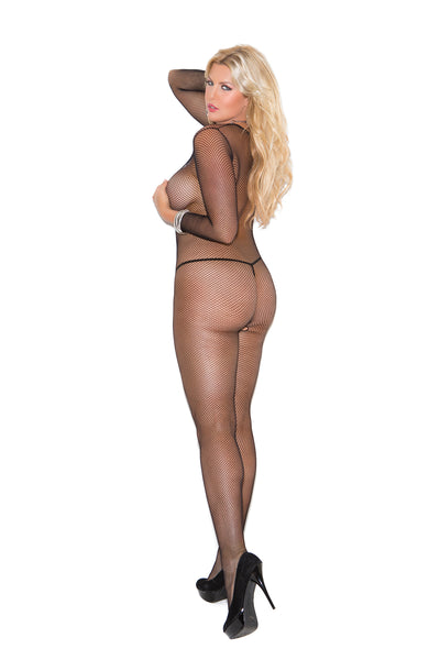 Plus size black long sleeve fishnet body stocking