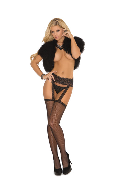 Fishnet Thigh High with Lace Garterbelt