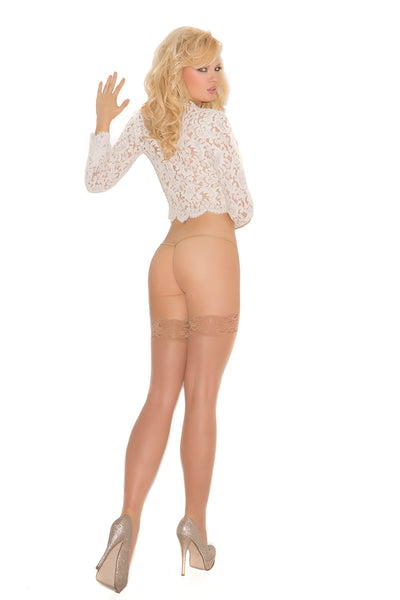 Sheer nude lace top thigh high