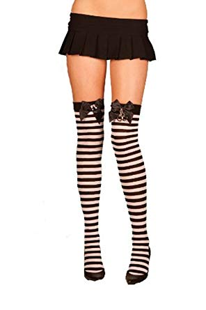 Black and White striped thigh highs