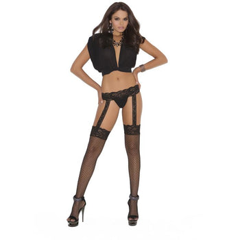 Diamond net thigh high with attached garter belt