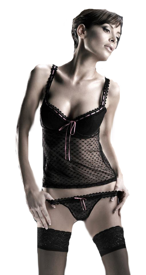 Heart Mesh Camisole with Ribbon and Matching Thong