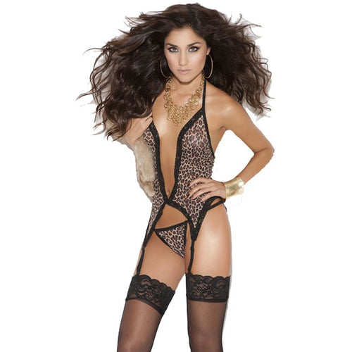 Leopard Deep V Cami with Matching G-String