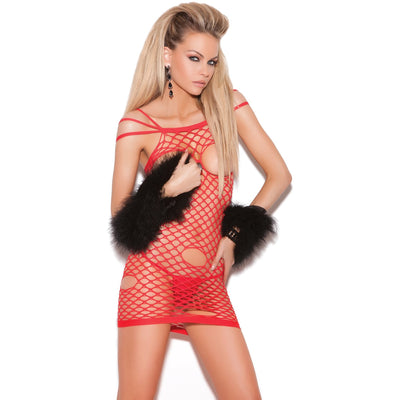 Red Open Cup Net Mini Dress