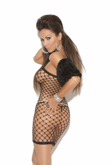 Diamond Net Latticed Black Mini Dress