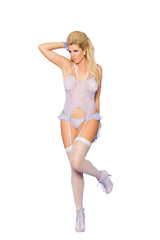 Plus size lilac camisette with ruffle g-string