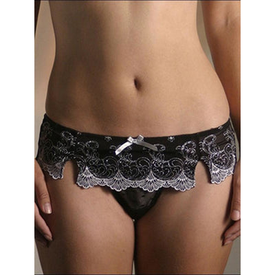 Black Thong with White Flower Pattern