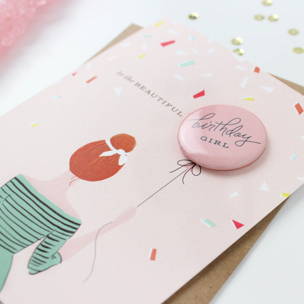 Birthday Girl Button Card - Redhead