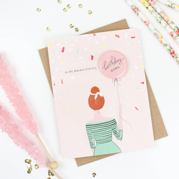 Bride-to-Be Button Card - Redhead