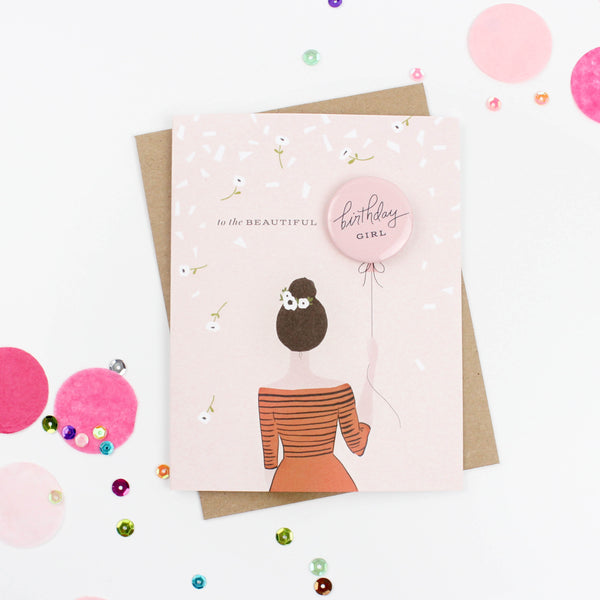 Bridesmaid Button Card - Brunette