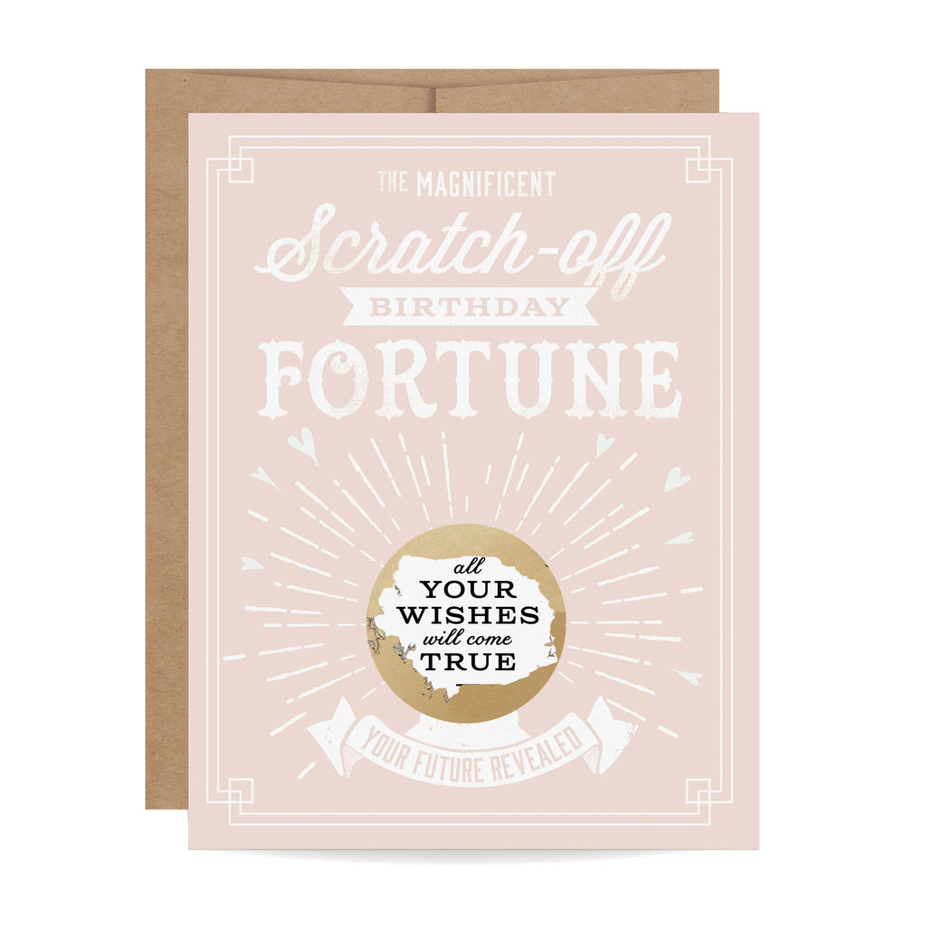 Pink Birthday Fortune Scratch-off Card