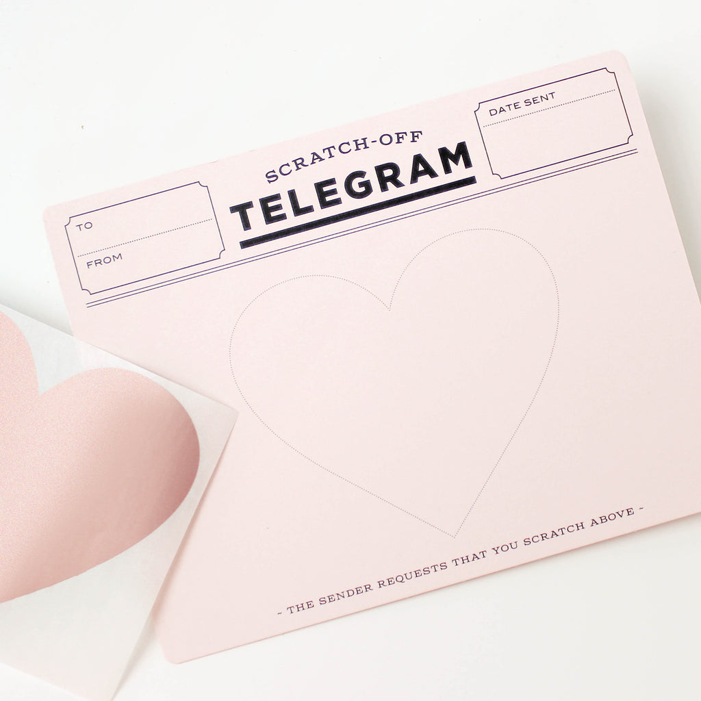 Rose Gold Telegram Scratch-off Card