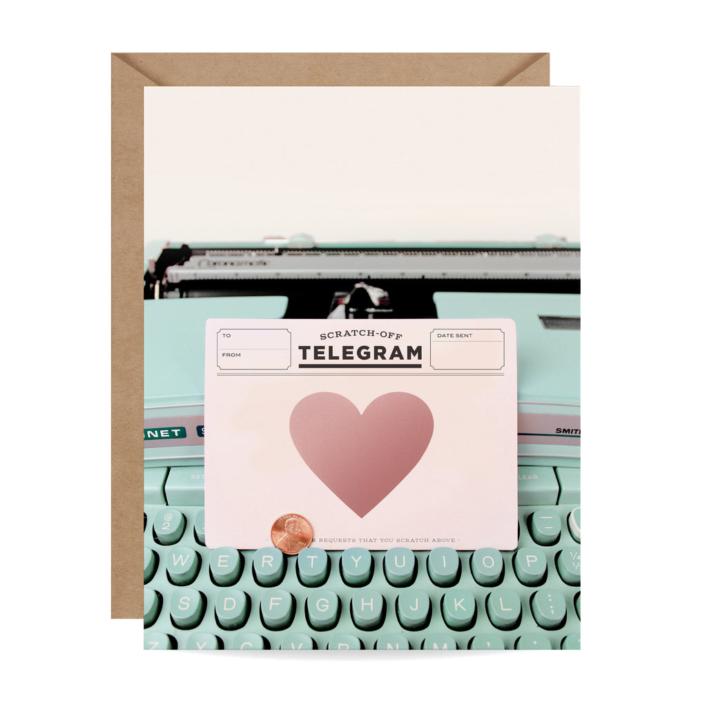 Typewriter Telegram Scratch-off Card