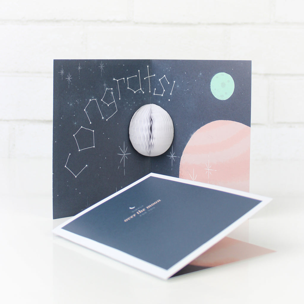 Over The Moon Pop-up Card