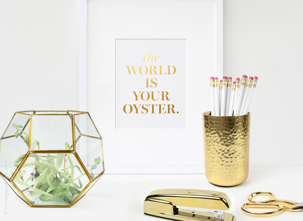 The World Is Your Oyster Art Card - Gold Foil