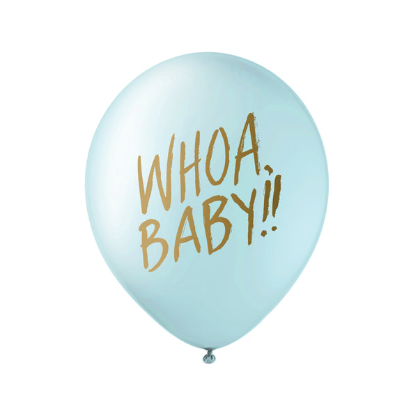 Whoa Baby! Balloons - Gold on Blue