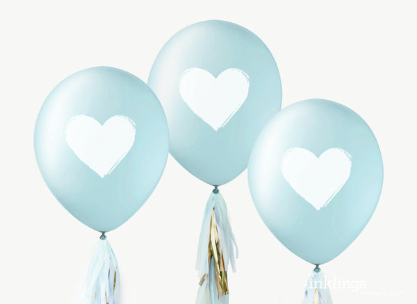 Heart Balloons - White on Blue