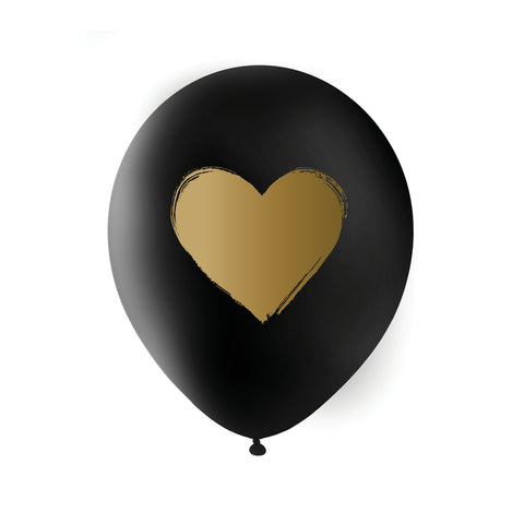 BLACK Gold Heart Balloons