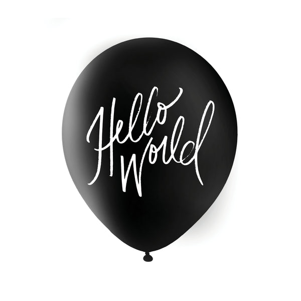 Hello World Balloons - White on Black