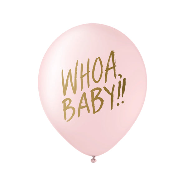 Whoa Baby! Balloons - Gold on Pink